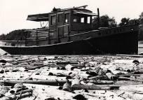 Le remorqueur Cape Crow à la drave sur la rivière du Saint-Maurice, 1977.